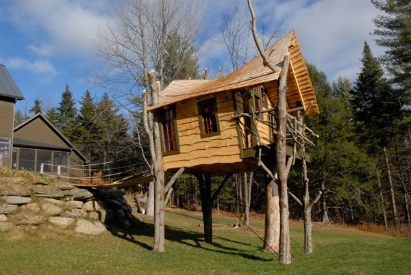 Private backyard tree house by The Treehouse Guys, LLC Vermont